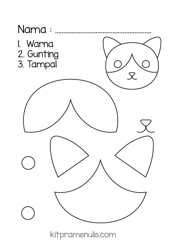 tampal Latihan Psikomotor Halus | Warna Gunting Dan Tampal Tema Kucing