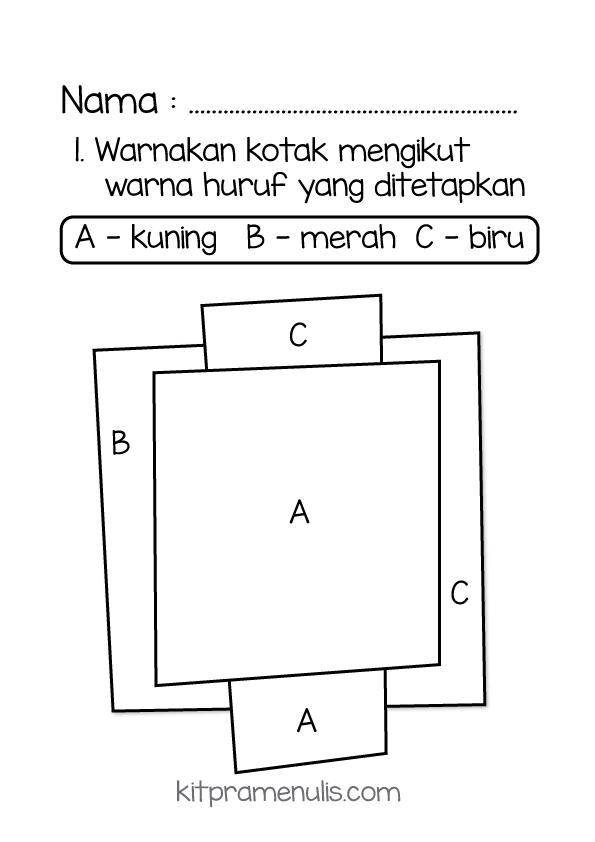 warna-abjad Latihan Pra Menulis | Warna Kotak Mengikut Warna Huruf