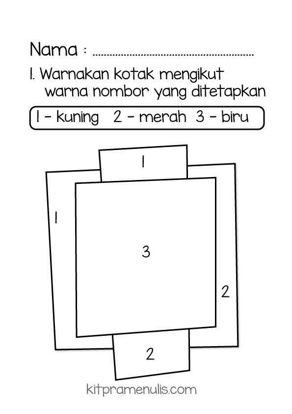 warna-kuning Latihan Pra Menulis | Warnakan Kotak Mengikut Warna Nombor