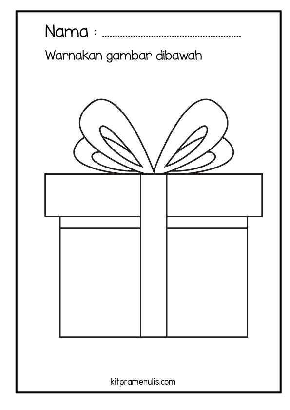 33 Lembaran Kerja KitPraMenulis Psikomotor Halus | Surih Dan Mewarna Kotak Hadiah