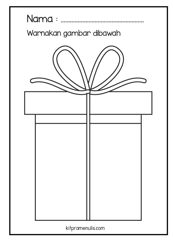 66 Lembaran Kerja KitPraMenulis Psikomotor Halus | Surih Dan Mewarna Kotak Hadiah