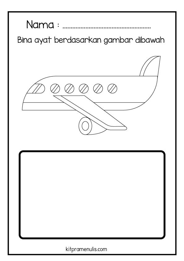 1-1 Lembaran Kerja Pendidikan Khas BM | Bina Ayat Mudah Tema Kapal Terbang