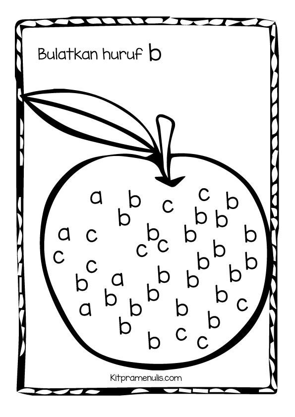 b Aktiviti Pramenulis   Bulatkan huruf B kecil