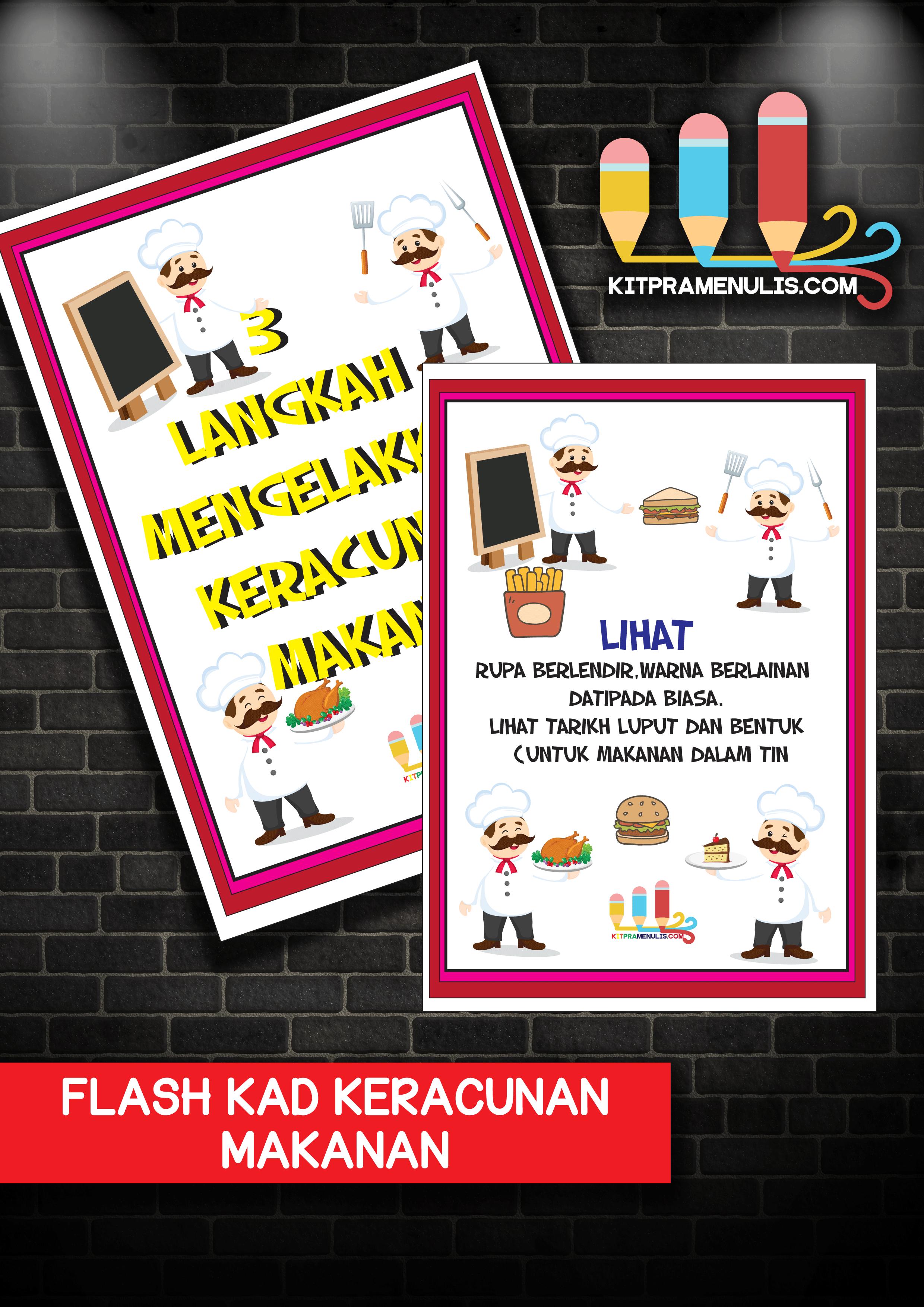 FLASH-KAD-KERACUNAN-MAKANAN Flash Kad A4 Keracunan Makanan Tema Chef Hiasan Kantin Sekolah