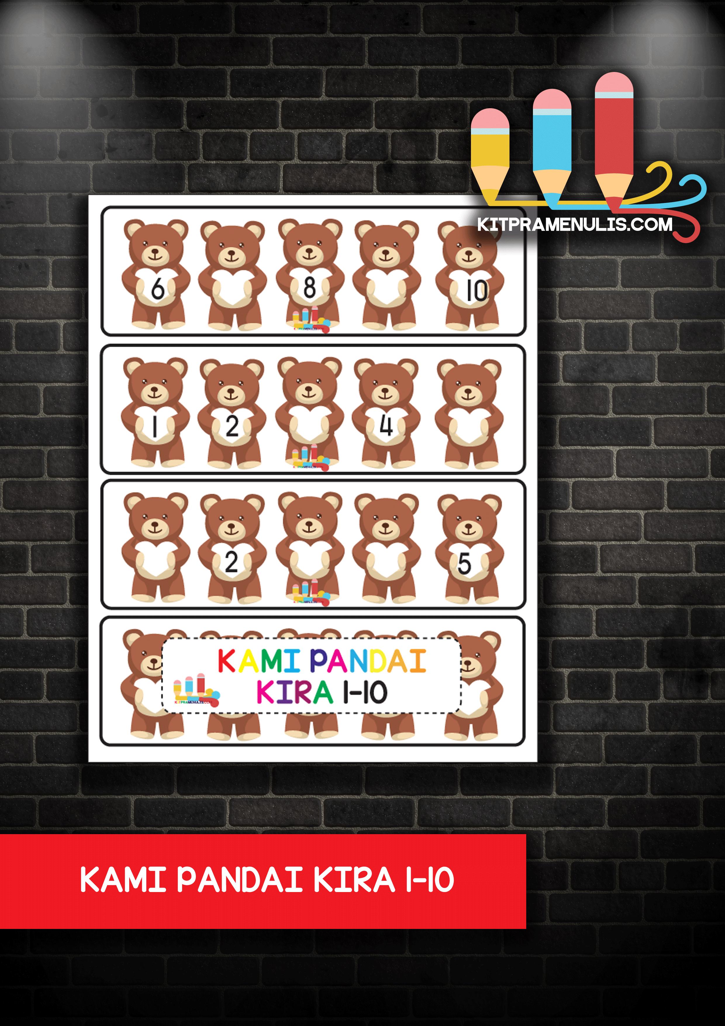 KAMI-PANDAI-KIRA-1-HINGGA-10 Flash Kad Kami Pandai Kira 1-10 Tema Bear Grafik Cantik Dan Berkualiti