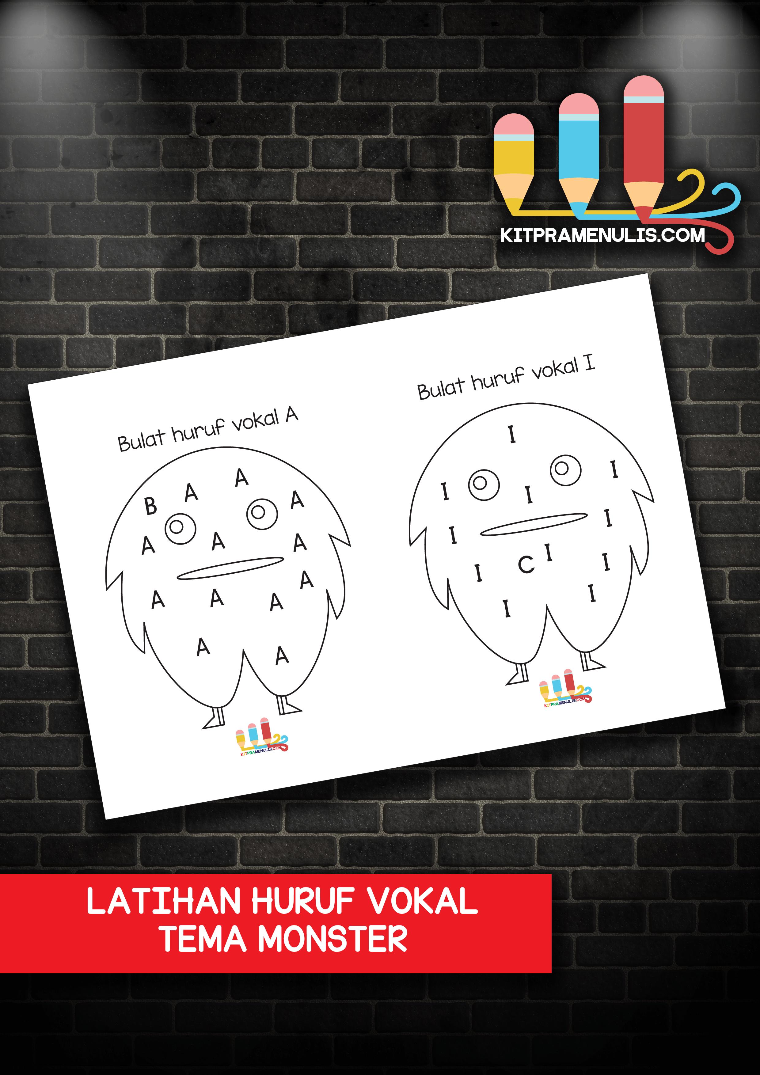 LATIHAN-HURUF-VOKAL-TEMA-MONSTER Latihan Cari Huruf Vokal Tema Monster