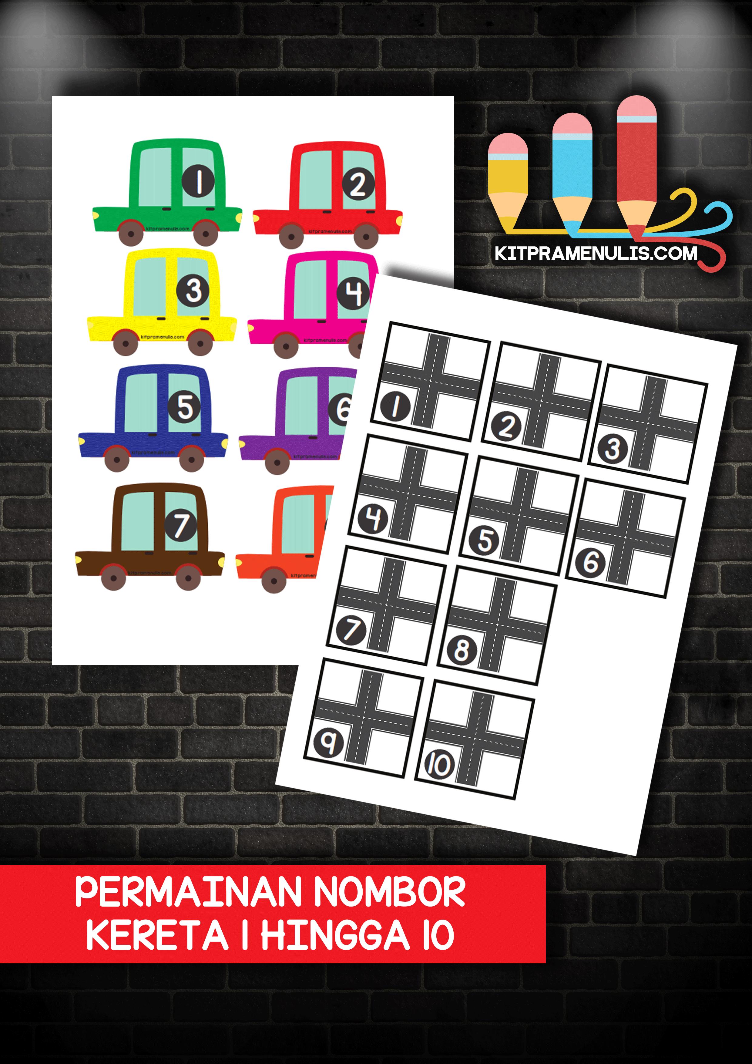 permainan-nombor-kereta-1-hingga-10 Aktiviti Matematik Prasekolah | Permainan Teka Nombor Kereta 1-10