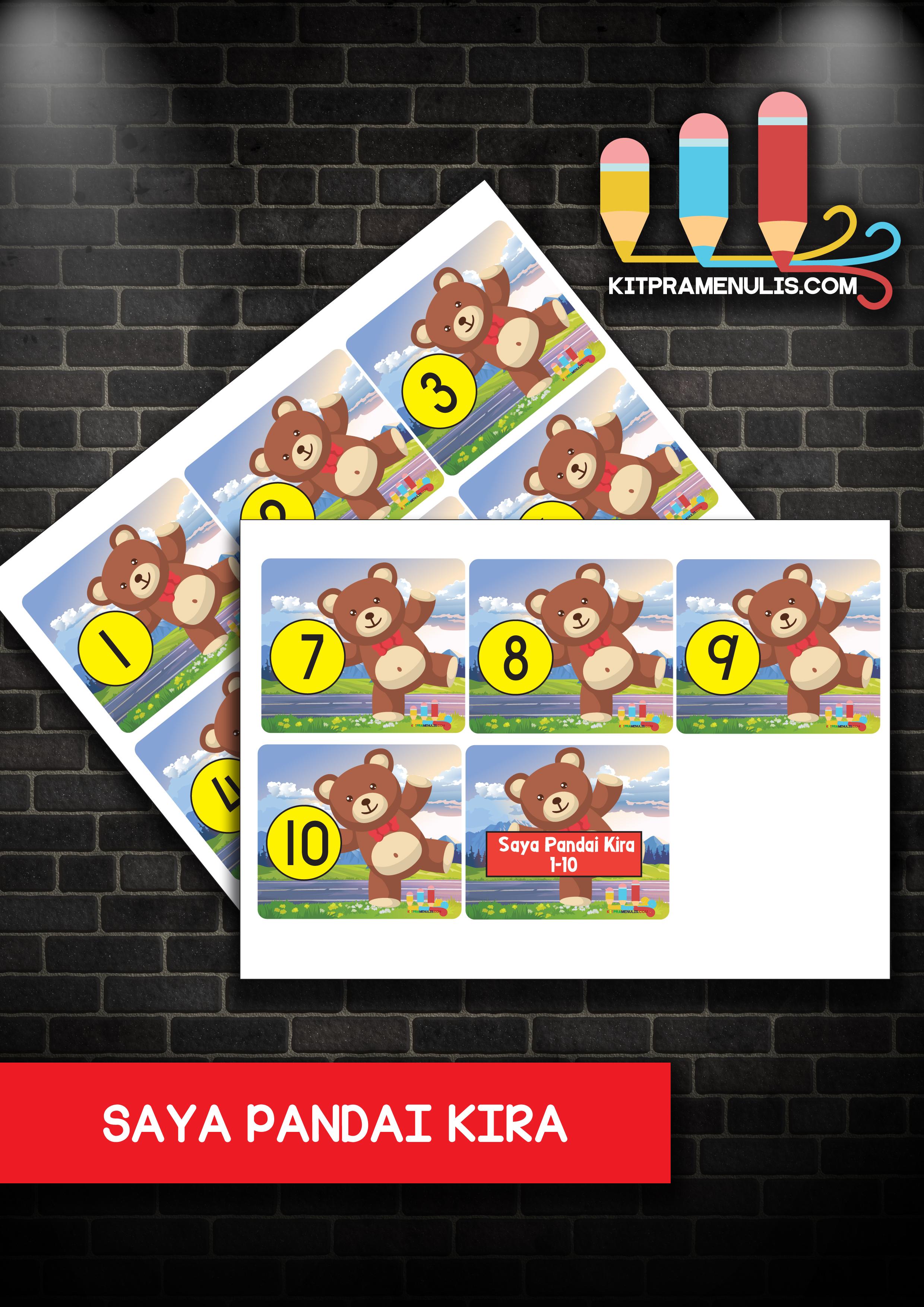 saya-pandai-kira Flash Kad Nombor 1-10 Tema Beruang