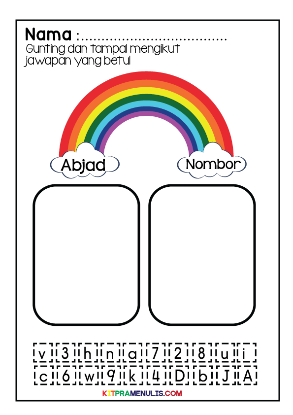 11111 Lembaran Kerja Versi Grafik Cantik | Gunting Tampal Abjad Dan Nombor