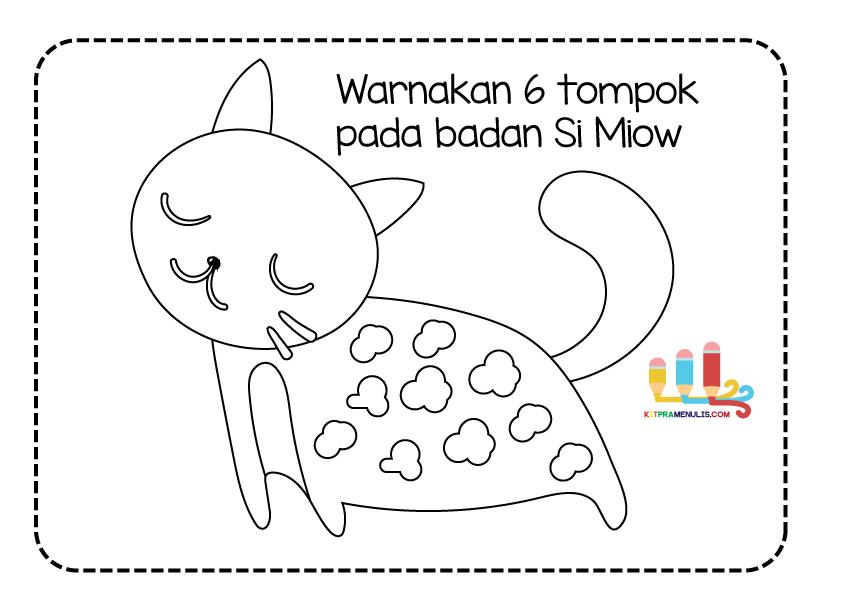 mm Lembaran Kerja Murid Pendidikan Khas | Warna Tompok Kucing 1 Hingga 10