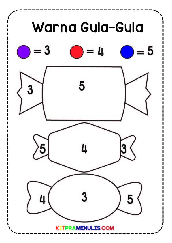 Nombor-1-5-Tema-Warna-Gula-Gula-01 Lembaran Kerja Warna Gula-Gula Nombor 1-5