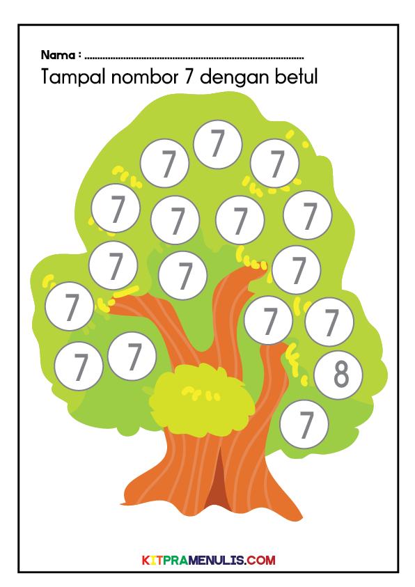 Mini-Worksheet-1-10-Tema-Pokok-02 Mini Worksheet Nombor 1-10 Tema Pokok