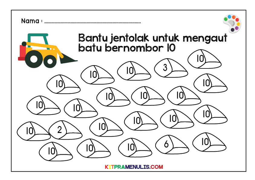 Warna-Nombor-1-Hingga-10-Tema-Jentolak-01 Mini Worksheet Warna 1 Hingga 10 Tema Jentolak