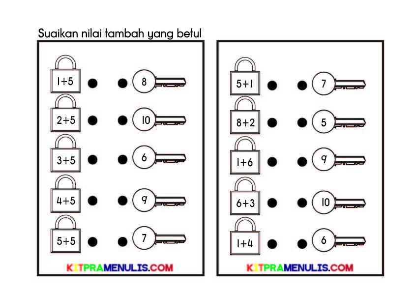 kunci-dan-mangga-operasi-tambah-1-10-01 Operasi Tambah Dalam Lingkungan 1 Hingga 10 Tema Kunci Dan Mangga