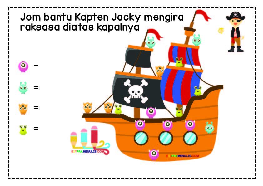 aktiviti-prasekolah Kapten Jacky Dan Raksasa Kira 1 Hingga 10