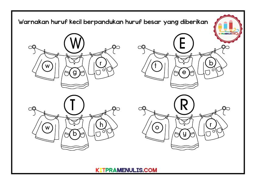 Huruf-a-z-tema-baju-gantung-10 Lembaran Kerja Huruf Besar Huruf Kecil Prasekolah