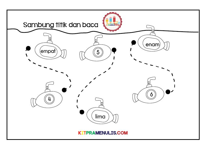 Mengenal-nombor-1-hingga-18-tema-kapal-selam-01 Lembaran Kerja Mengenal Nombor 1 Hingga 18 Tema Kapal Selam