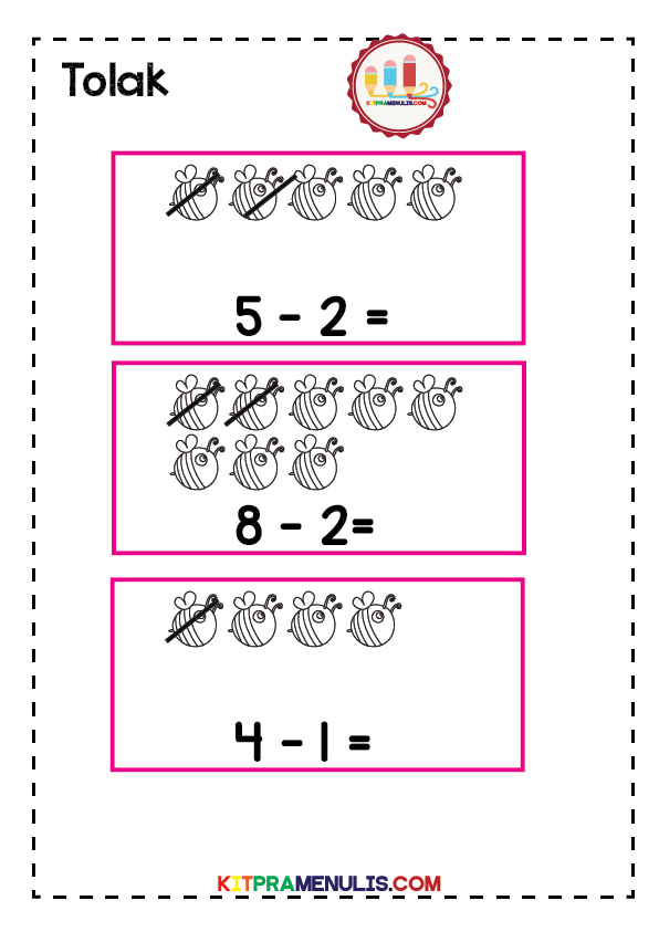 operasi-tolak-1-10-tema-tebuan-01 Latihan Matematik Operasi Tolak Untuk Kanak-Kanak