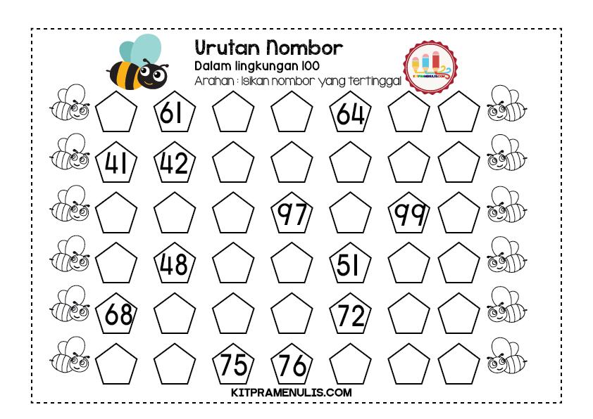 Lembaran-Kerja-Matematik-Urutan-Nombor-Dalam-Lingkungan-100-01 Lembaran Kerja Matematik Urutan Dalam Lingkungan 100