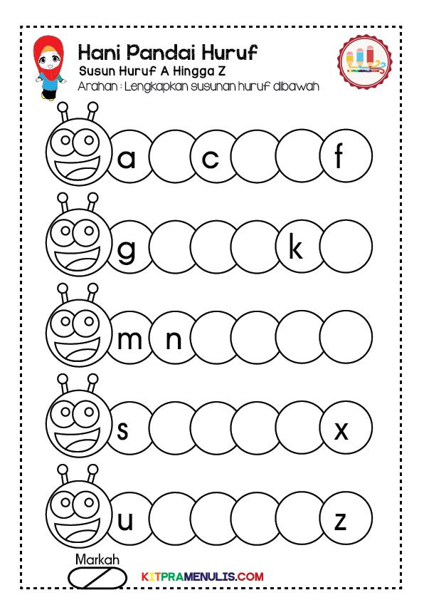 Lembaran-Kerja-Mengenal-Huruf-A-Hingga-Z-01 Lembaran Kerja Pendidikan Khas Hani Pandai Susun Huruf A Hingga Z