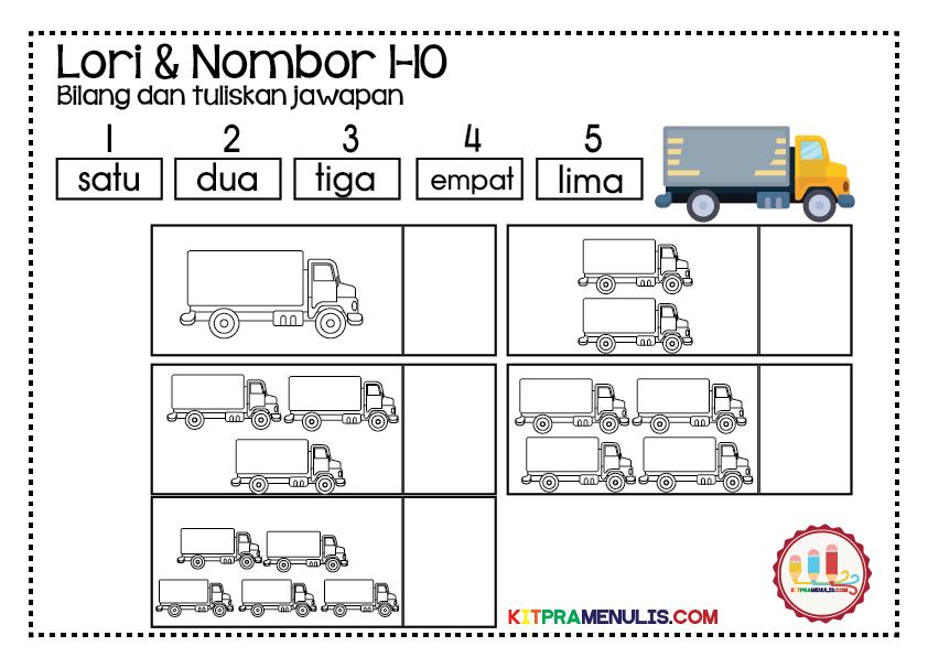 Lembaran-Kerja-Nombor-1-hingga-10-tema-lori-01 Lembaran Kerja Prasekolah Pandai Kira Lori Dan Nombor 1-10