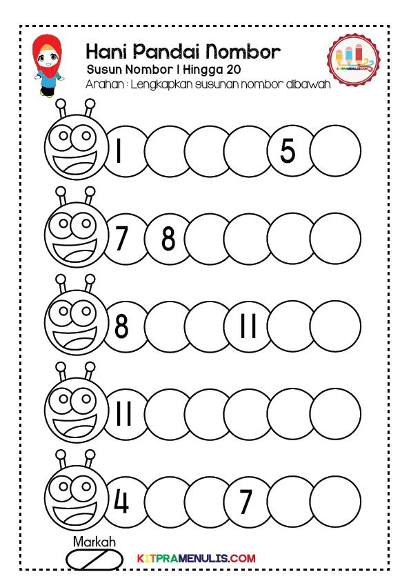 Lembaran-Kerja-Pandai-Susun-Nombor-1-20-01 | Lembaran Kerja Pendidikan Khas | Hani Susun Nombor 1 Hingga 20