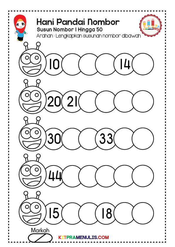 Lembaran-Kerja-Pandai-Susun-Nombor-1-50-01 Lembaran Kerja Pendidikan Khas Pandai Susun Nombor 1-50