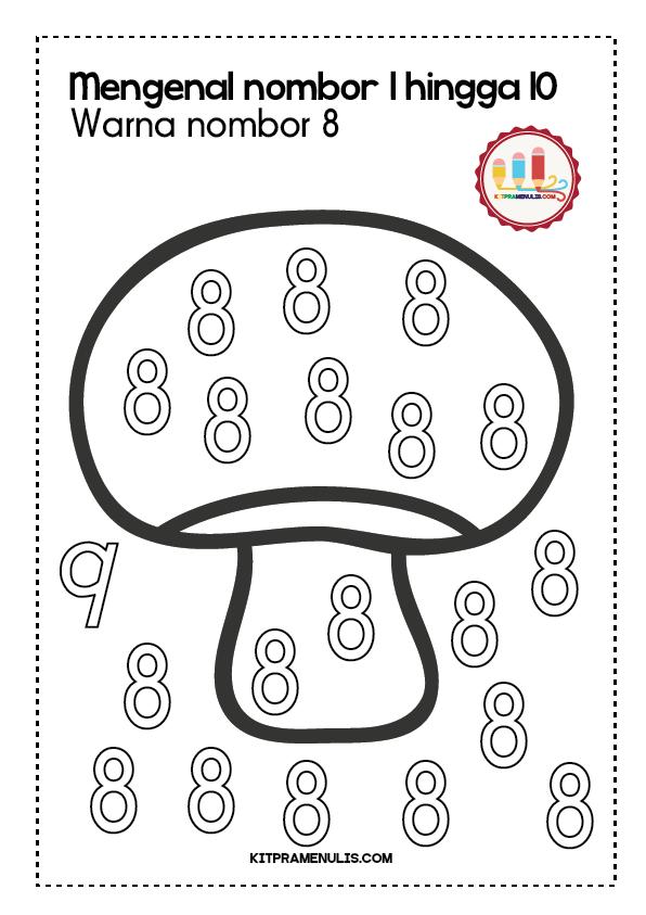 Lembaran-Kerja-Warna-Nombor-1-Hingga-10-Tema-Cendawan-01 Lembaran Kerja Warna Nombor 1 Hingga 10 Tema Cendawan