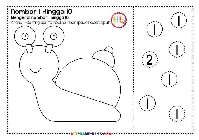 Mini-Worksheet-1-10-Tema-Siput-Gunting-01 Lembaran Kerja Prasekolah Mengenal Nombor 1 Hingga 10