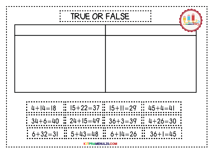 Mini-Worksheet-1-50True-Or-False-01 Mini Worksheet Mathematic I Can Count 1 To 50