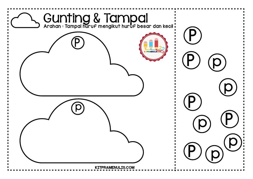 Mini-Worksheet-Huruf-A-Z-Gunting-Tampal-16 Lembaran Kerja Huruf P