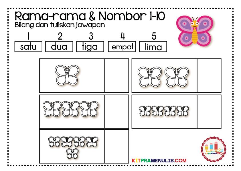 Rama-Rama-Dan-Nombor-1-10-Pandai-Kira-01 Mini Worksheet Matematik Pendidikan Khas Pandai Mengira Tema Rama-Rama