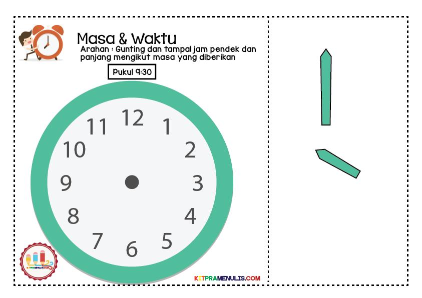 lembaran-kerja-masa-01 Lembaran Kerja Masa Dan Waktu | Tampal Jarum Jam 9:00 Hingga 9:55