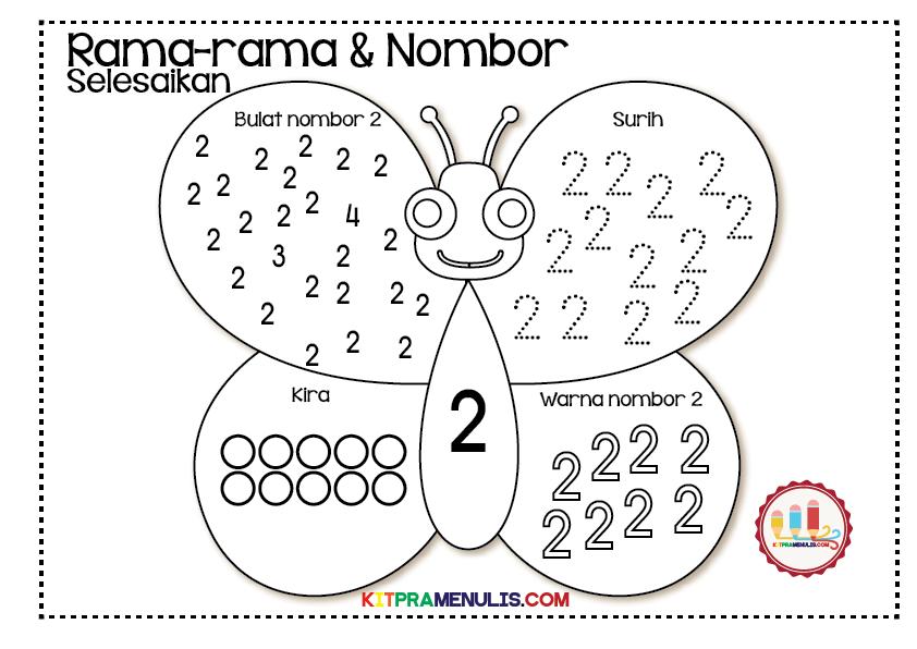 lembaran-kerja-nombor-1-hingga-10-tema-rama-rama-01 Latihan Pengukuhan Mengenal Nombor 1 Hingga 10 Tema Rama-Rama