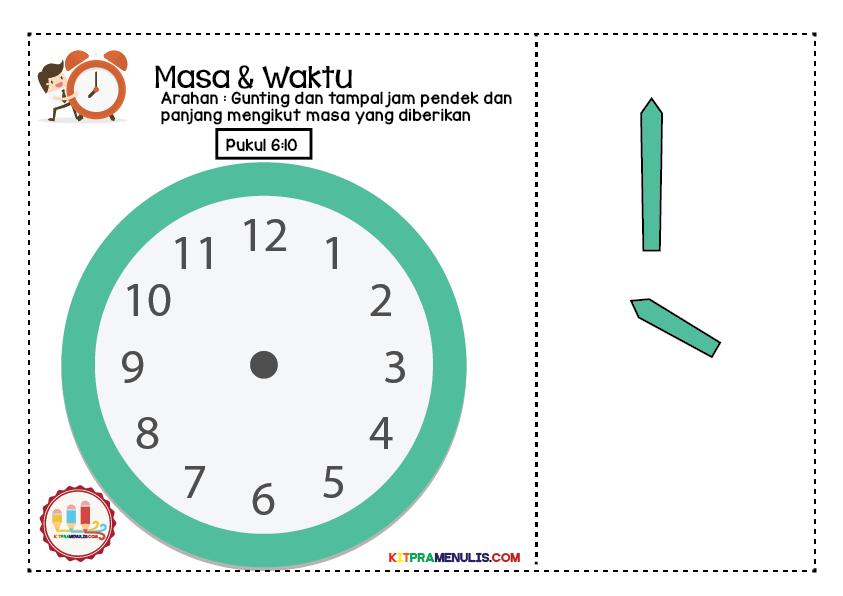 lembaran-kerja-prasekolah-masa-dan-waktu-01 Lembaran Kerja Masa Dan Waktu | Tampal Jarum Jam 6:00 Hingga 6:55