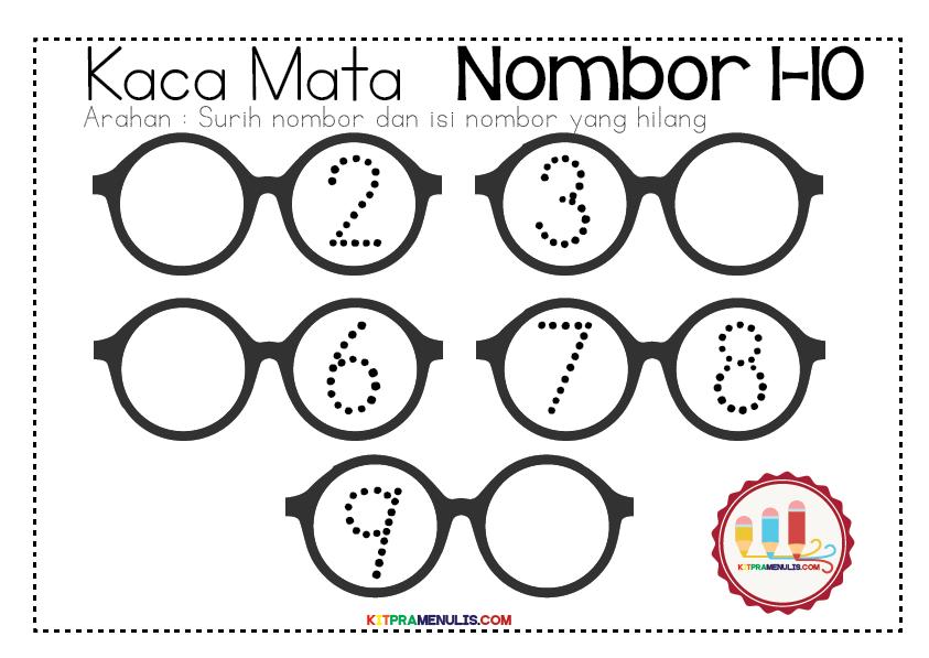 Mini-Worksheet-1-Hingga-10-Tema-Kaca-Mata-01 Lembaran Kerja Surih Nombor 1 Hingga 10
