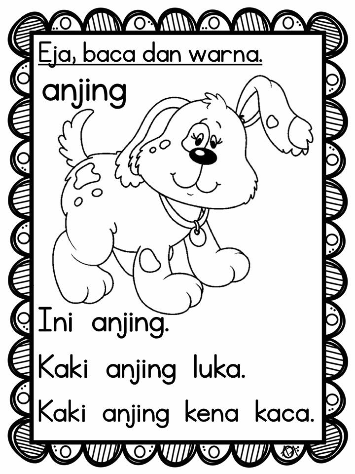 latihan-baca-ayat Latihan Bahasa Melayu Eja Baca Warna Ayat Prasekolah