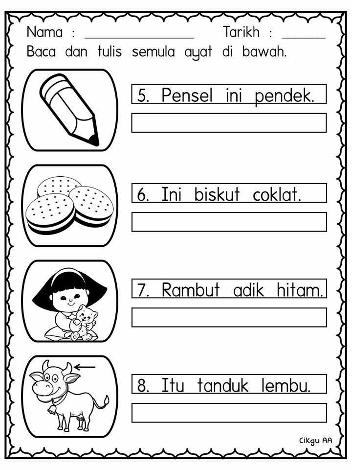latihan-bina-ayat-kvk Latihan Bahasa Melayu Prasekolah Bina Ayat KVKKVK