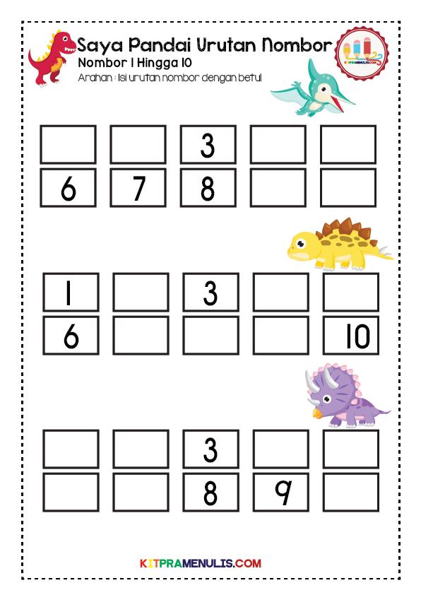 latihan-urutan-nombor-1-hingga-10-01 Lembaran Kerja Prasekolah Urutan Nombor 1 Hingga 10