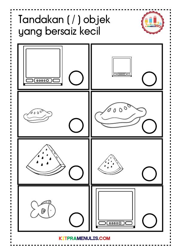 lembaran-kerja-saiz-objek-01 Lembaran Kerja Matematik Saiz Objek Prasekolah Pendidikan Khas