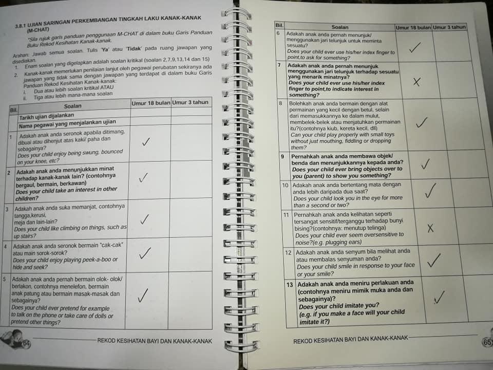 buku-rekod-kesihatan-bayi Proses Mendapatkan Kepastian Diagnosis ASD