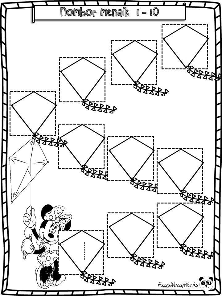 lembaran-kerja-prasekolah Lembaran Kerja Prasekolah | Lembaran Kerja Matematik Mengenal Nombor 1 Hingga 10