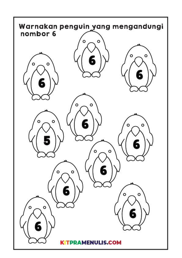 Mengenal-nombor-1-hingga-10-01 Latihan Mengenal Nombor 1 Hingga 10 Tema Penguin