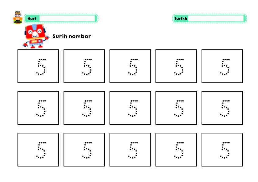 Bijak-Nombor-1-10-Robot-01 Lembaran Kerja Nombor 1 Hingga 10 Tema Robot