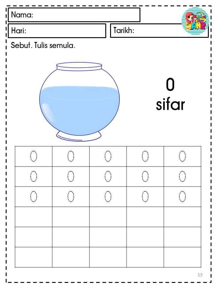 lembaran-kerja-matematik-1-hingga-10 Lembaran Kerja Awal Matematik Nombor 1 Hingga 10 Grafik Cantik