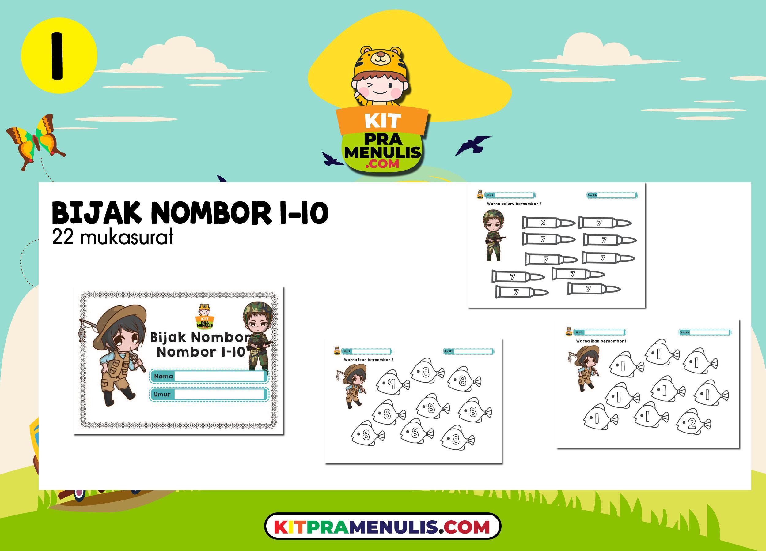 lembaran-kerja-matematik-nombor-1-hingga-10 9 Koleksi Lembaran Kerja Matematik Mengenal Nombor 1 Hingga 10