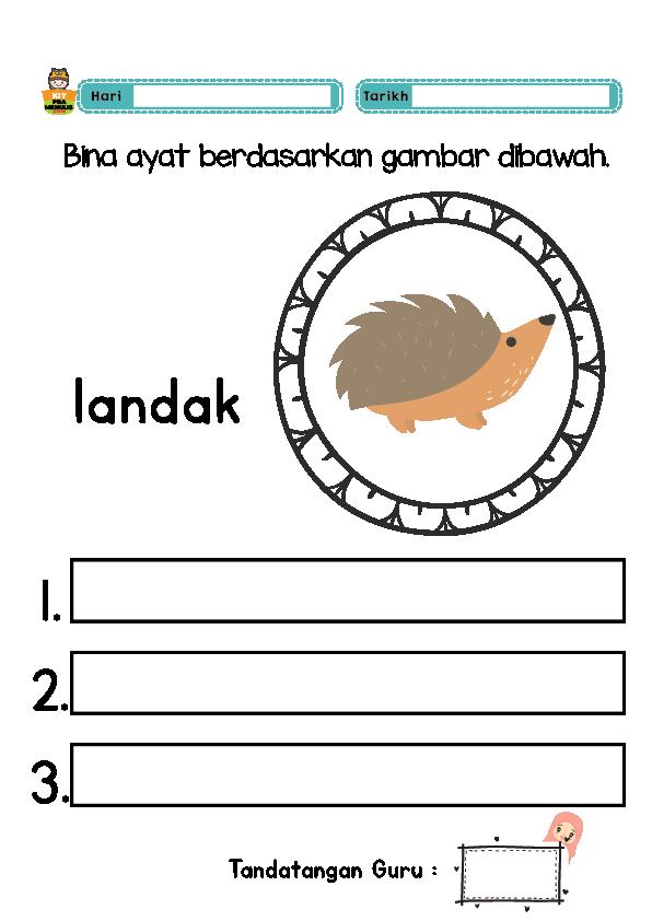 Bina-Ayat-Suku-Kata-01 Lembaran Kerja Prasekolah Membina Ayat Mudah Berdasarkan Gambar