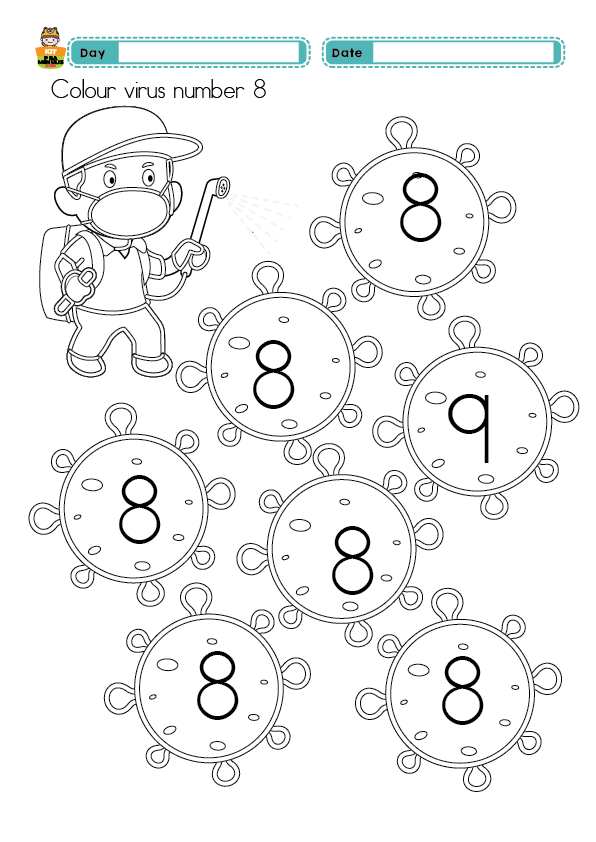 COLOUR-NUMBER-1-10-PAK-MAN-AND-123-01 Preschool Mathematic  Worksheet Find Number 1 To 10