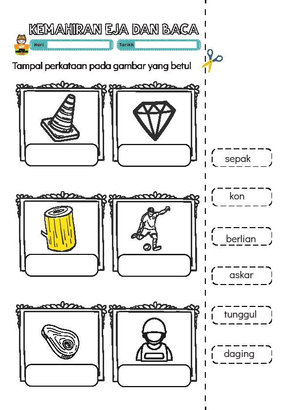Saya-Pandai-Mengeja-Dan-Baca-1-01 PPKI Worksheet | Gunting  Dan Tampal Perkataan Mengikut Gambar