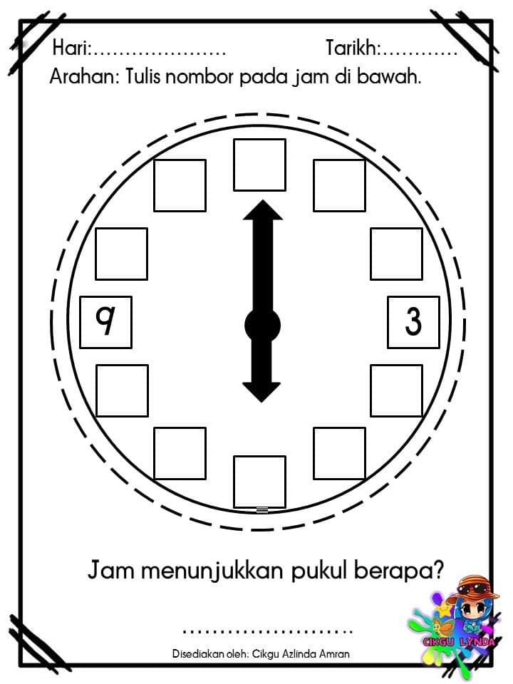 latihan-matematik-mengenal-masa-dan-waktu-prasekolah-1 Latihan Matematik Mengenal Masa Dan Waktu Prasekolah 6 Tahun
